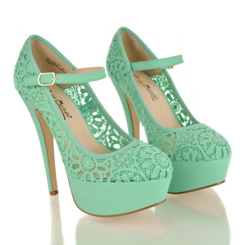 Almond Toe Lace Mary Jane Platform
