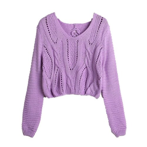 Lilac Crop Sweater Top