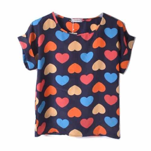 Hearts Short Sleeve Chiffon Tops
