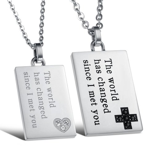 His & Hers Matching Couple Pendant Necklace