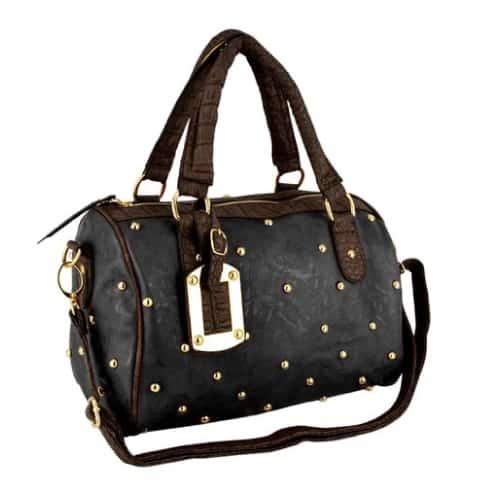 Studded Black Bowler Bag
