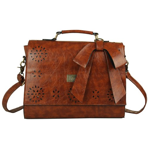 Ecosusi Large Vintage Leather Saddle Messenger Bag