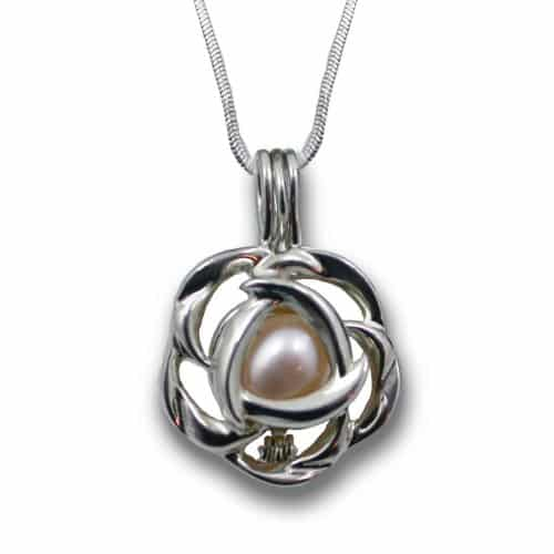 Wish Pearl Rose Cage Pendant Necklace