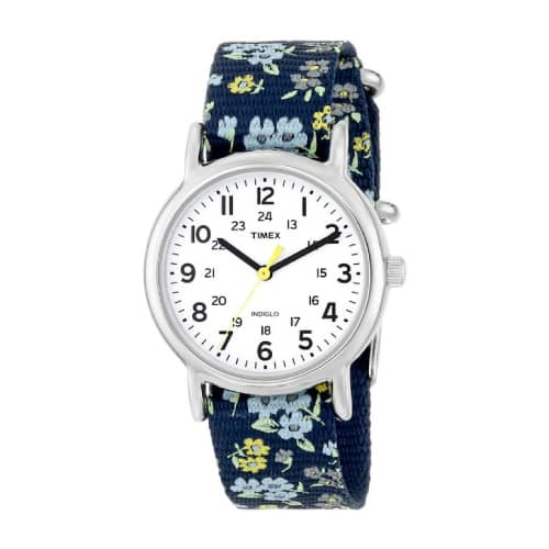 Timex Woman's Weekender Blue Floral Strap Watch