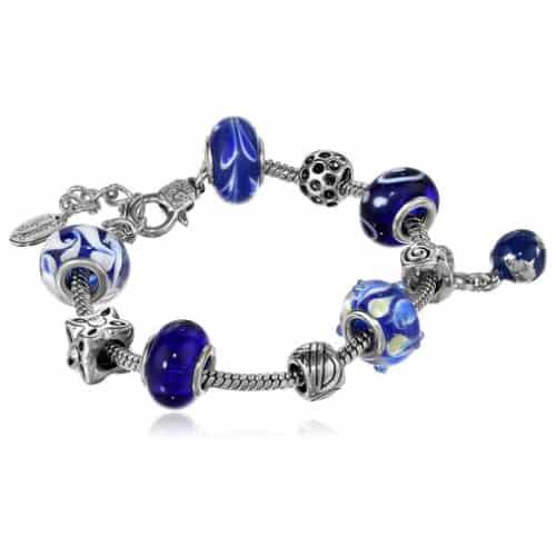 Charmed Feelings Murano Style Glass Beads and Charm Bracelet