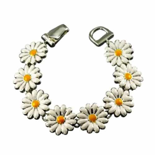 Daisy Flower Magnetic Clasp Charm Bracelet