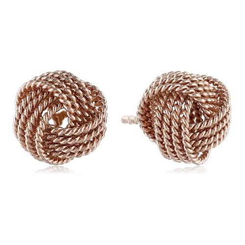 Rose Gold Twisted Love Knot Stud Earrings