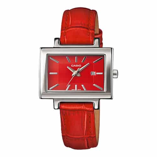 Casio Women Red Leather Quartz Watch