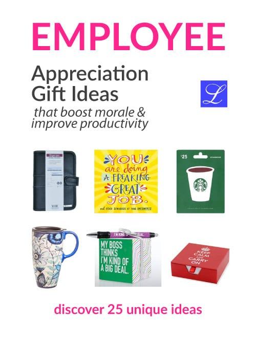 Employee Appreciation Gifts. Staff recognition ideas.