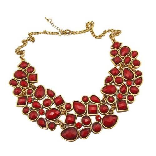 Red Rhinestone Drop Bubble Choker Necklace