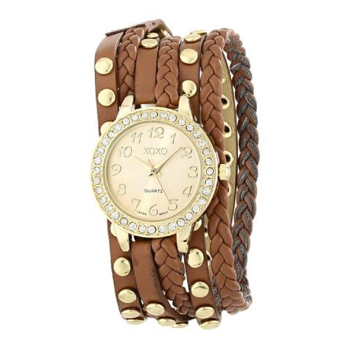 XOXO Brown Braided Wrap Watch