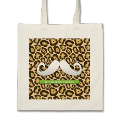 Cute Funny Mustache Tote Bag with Jaguar Print