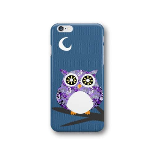 Purple Owl Chiling at Night on A Tree Branch Phone Case