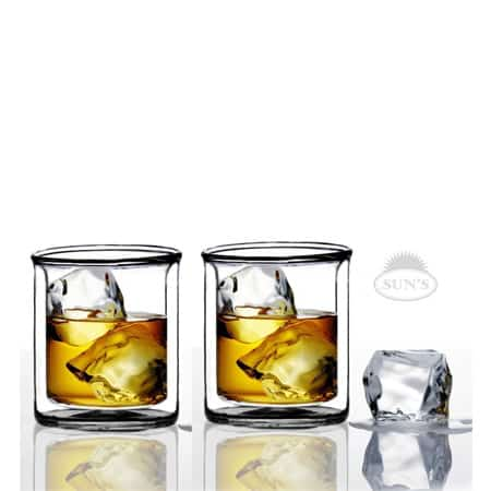 Sun's Double Wall Manhattan-Style Old-fashioned Whiskey Glasses