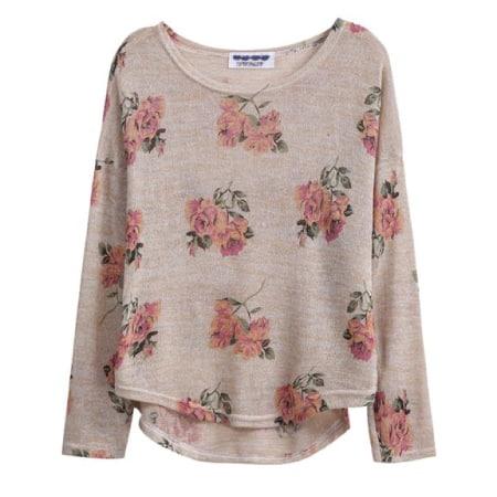 Sheinside® Women's Floral Apricot Knitwear