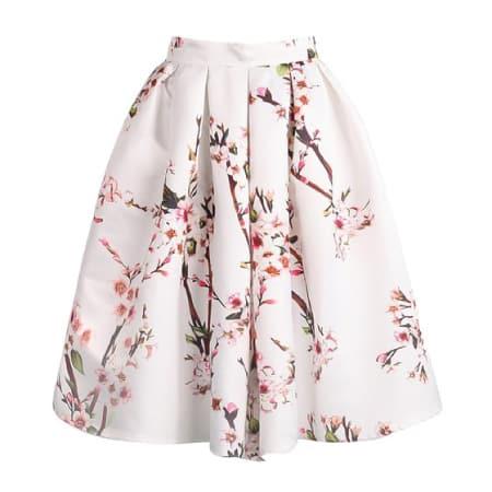 Sheinside® Women's White Floral Pleated Skirt