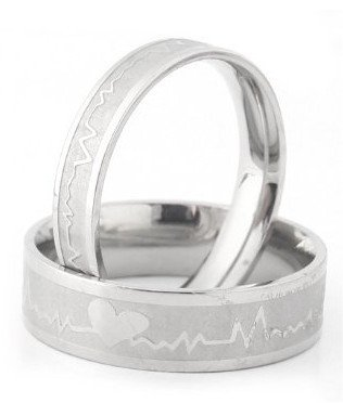 His & Hers Heart Beat Chart Couple Ring