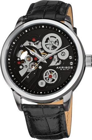 Akribos XXIV Men's AK538BK Mechanical Skeleton Leather Strap Watch