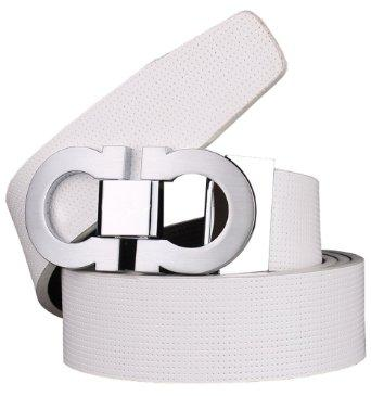 Bullko Men's Smooth Leather Buckle Belt