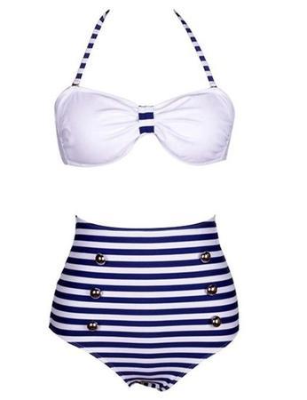 Cocoship Retro 50s Pinup Rockabilly Vintage High Waist Bikini