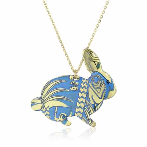 "Mercedes Salazar ""Enchanted Forest"" Blue Bunny Necklace"