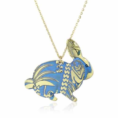 "Mercedes Salazar ""Enchanted Forest"" Blue Bunny Necklace"