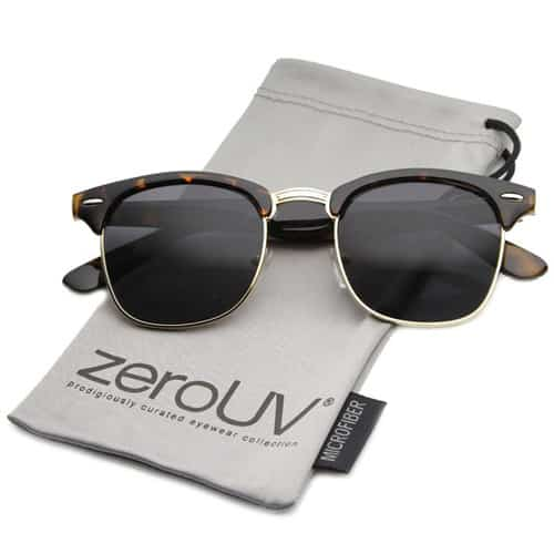 Classic Iconic Style Half Frame Horn Rimmed Sunglasses