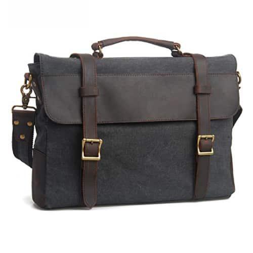 EcoCity Canvas Leather Laptop Messenger Bag
