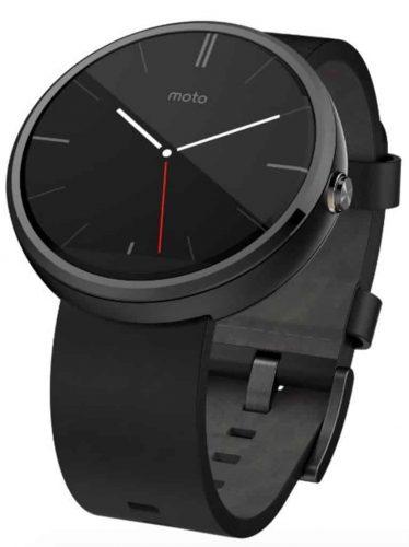 Motorola Black Leather Smart Watch