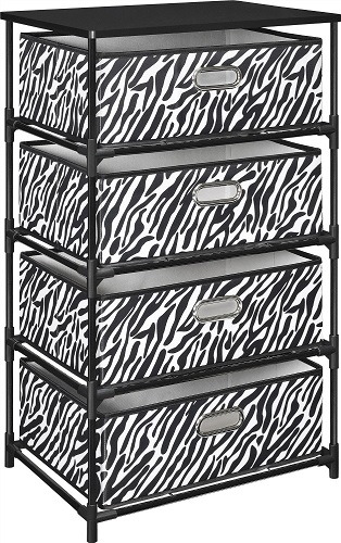 Zebra Print Storage End Table