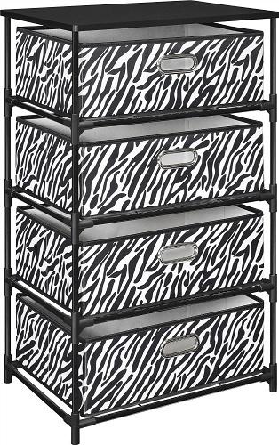 Zebra Print Storage End Table