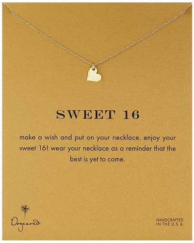 "Dogeared ""Reminders"" Sweet 16 Sparkle Heart Pendant Necklace"
