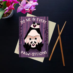 long-distance gifts for boyfriend | naughty greeting card for boyfriend | do me in every paw-sition | panda design