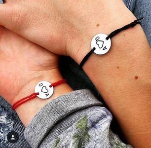 long-distance gifts for boyfriend | matching couple initials bracelets