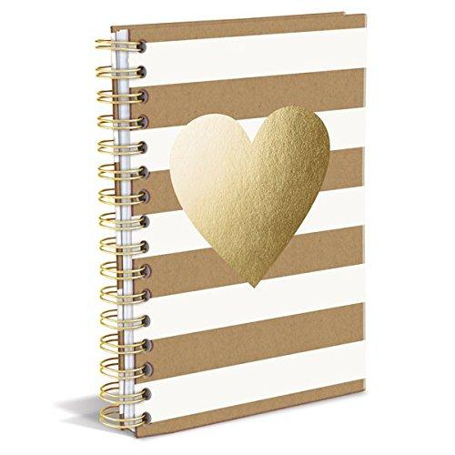Gold Heart Spiral Bound Notebook. School supplies college list.