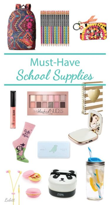 School supplies must haves for college girls. College ideas, bag, pencil, makeup, tumbler and more.