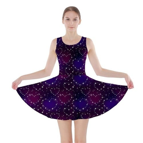 A Fun Night Sky the Moon and Stars Skater Dress