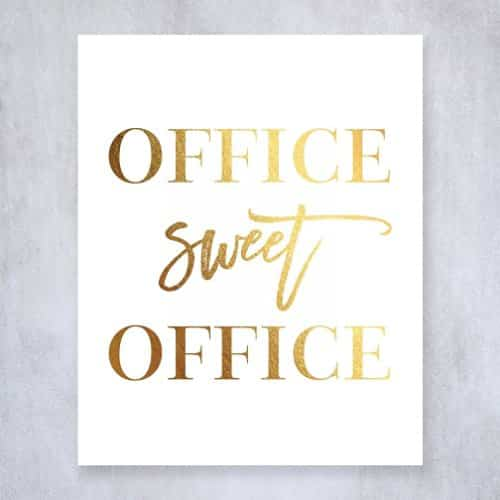Office Sweet Office Gold Foil Wall Art