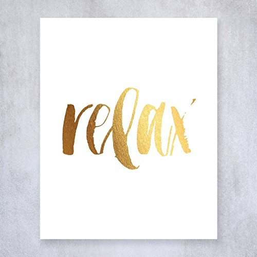 Relax Gold Foil Wall Art
