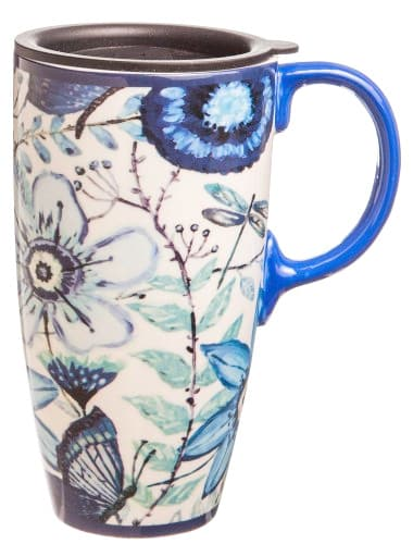 Shades of Indigo Flowers and Butterflies Ceramic Travel Coffee