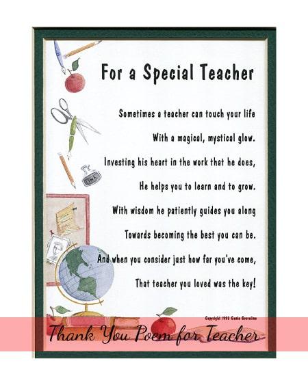 Teacher Appreciation Day Gift Ideas - Thank You Poem for Teachers