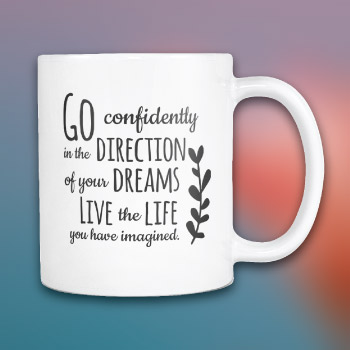 college graduation gift ideas for him - inspirational henry david thoreau quote coffee mug