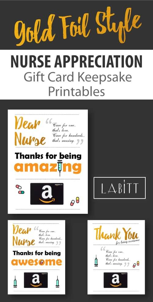 Nurse Week Appreciation Gift Ideas | DIY Handmade Gift Card Printables for Nurses