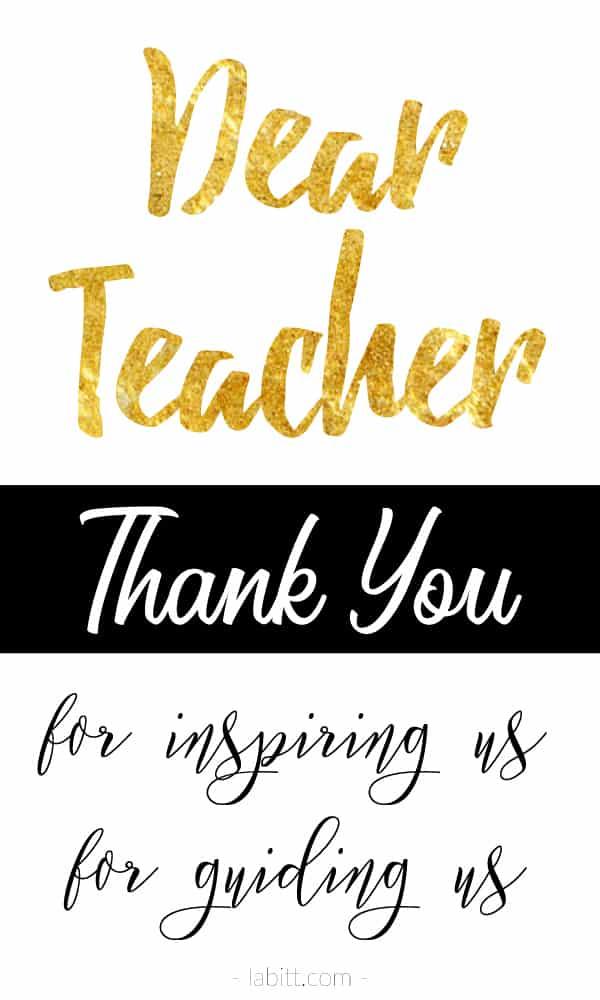 thank you teacher - teacher appreciation day / week quote about teacher, teaching, school, student - inspirational - gold foil