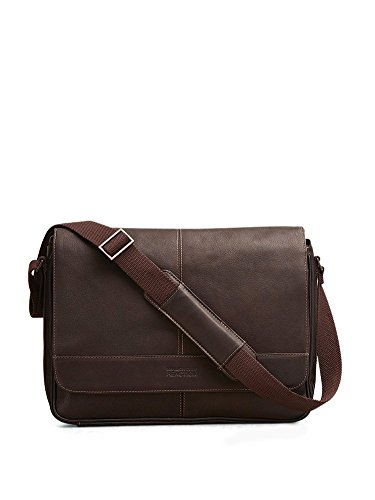 Kenneth Cole Leather Shoulder Bag. Practical -- spacious with multiple storage compartments. Ergonomic strap. Striking design. Perfect 21st birthday gift for boyfriend.