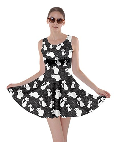 gifts for tween girls Skater Dress with White Cats in Space Graphics