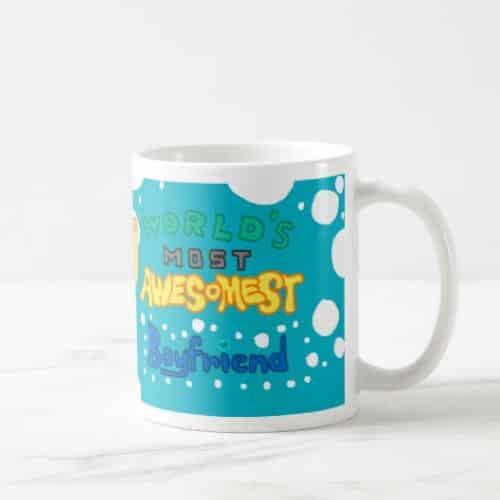 World's Awesomest Boyfriend Mug,. Humorous funny mug with cute color. Cool gift for boyfriend's 21st birthday.