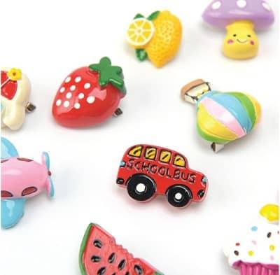 food and transport enamel badges