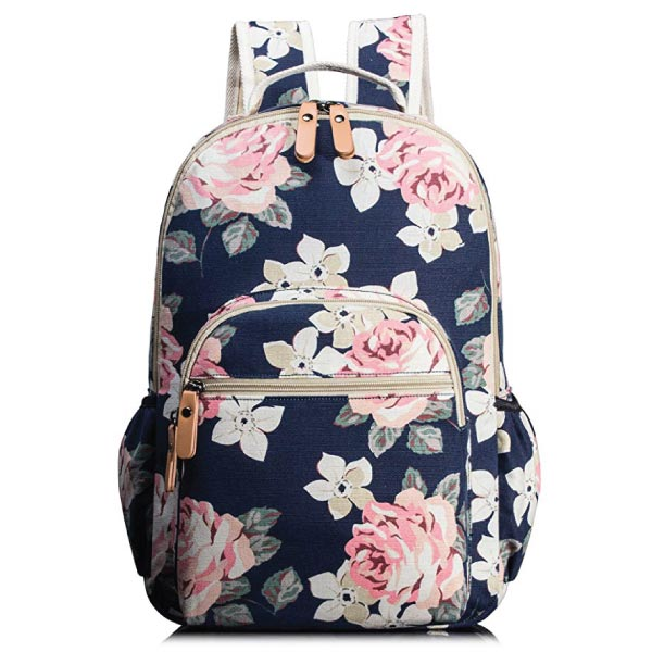 floral backpack with navy background