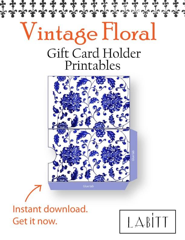 China - Vintage Style Floral Design Gift Card Holder Printables